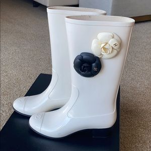 Chanel rain boots light beige with camelias.